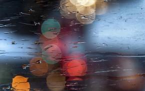 Картинка мокро, стекло, макро, свет, боке