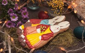 Картинка цветы, печенье, Пасха, зайцы
