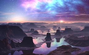 Картинка вода, туман, отражение, сияние