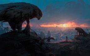 Картинка солнце, закат, птицы, люди, скалы, арт, панорама, зарево, воины, заря, древние цивилизации, Pablo Dominguez, Ancient …