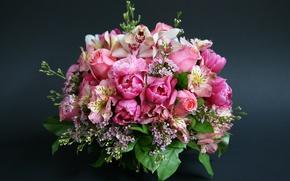 Картинка розы, букет, тюльпаны, орхидеи, beautiful, Roses, Tulips, альстромерия