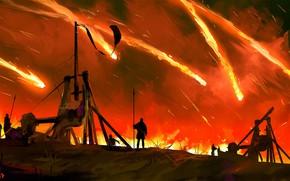 Картинка огонь, воины, катапульта, метание, Meteor in the sky