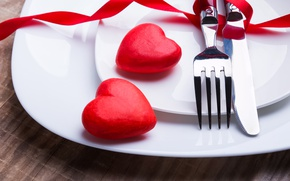 Картинка нож, сердечки, red, вилка, romantic, hearts, Valentine's Day