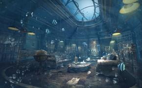 Картинка bibliotheque, глобус, пузыри, затопление, Unlock