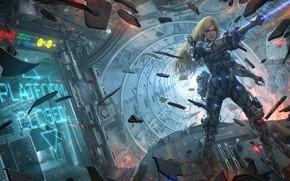 Обои девушка, осколки, оружие, фантастика, корабль, арт, Sci-Fi