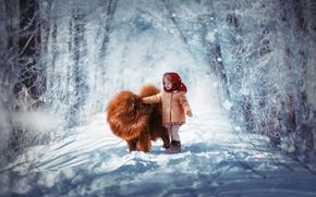 Обои зима, снег, ребенок, собака, девочка, платок, чау-чау, пальтишко