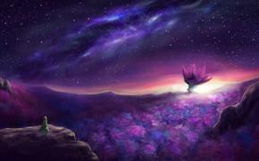 Картинка цветок, небо, ночь, природа, замок, человек, фэнтези, by danielju