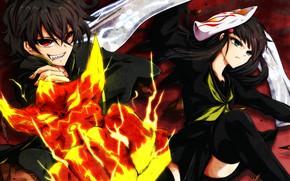 Картинка аниме, арт, пара, двое, Sousei no Onmyouji, Бенио, Две звезды Онмёджи, Рокудо