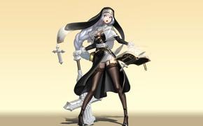 Картинка девушка, оружие, фон, аниме