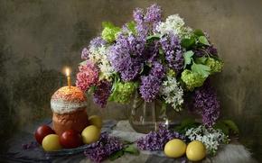Картинка ветки, праздник, свеча, яйца, Пасха, кулич, сирень, Easter, крашенки