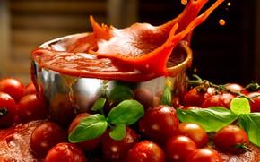Картинка листья, брызги, сок, чашка, красные, помидоры, томаты, боке