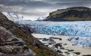 Картинка лед, зима, небо, вода, облака, снег, горы, природа, камни, пасмурно, холмы, берег, вершины, лёд, склон, …