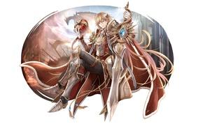 Картинка дракон, меч, аниме, корона, арт, парень