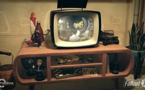 Картинка Бутылка, Комната, Телевизор, Fallout, Bethesda Softworks, Bethesda, Bethesda Game Studios, Vault Boy, Mister Handy, Vault-Tec, …