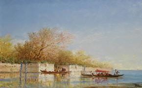 Картинка пейзаж, лодка, картина, гондола, Felix Ziem, Феликс Зим, Французские Сады