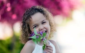 Картинка весна, девочка, сирень