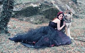 Обои девушка, природа, волк