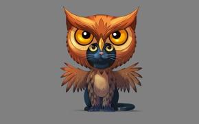 Картинка кот, сова, минимализм, cat, owl, совакот