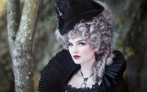 Картинка девушка, шляпа, костюм, парик