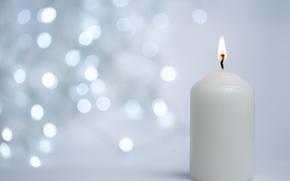 Обои макро, свеча, Рождество, боке