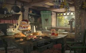 Картинка дом, стол, настроение, арт, Hansel and Gretel, Sergio Raposo Fernández, кухна. праздник