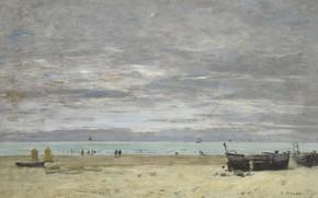 Обои Эжен Буден, картина, Eugene Boudin, пейзаж, Лодки на Пляже