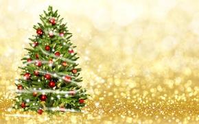 Картинка Новый Год, Рождество, Шарики, Елка, Гирлянда