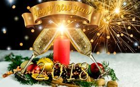 Картинка блики, фон, огонь, праздник, шары, свеча, салют, бокалы, Рождество, Новый год, фейерверк, орехи, шампанское, шишки, …