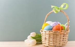 Картинка Тюльпаны, Пасха, Яйца, Корзина, Праздник