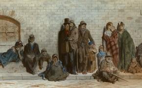 Картинка люди, рисунок, акварель, жанровая, Paul Gustave Dore, На Улице Лондона, Гюстав Доре