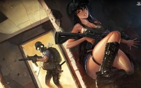 Картинка девушка, оружие, аниме, солдат, santafe99