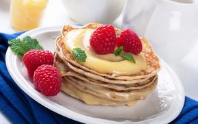 Обои ягоды, малина, мед, блины, pancakes