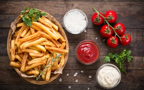 Картинка tomatoes, french fries, Portion