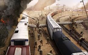 Картинка пожар, дым, вагоны, зомби, железная дорога, состав, region screen junction
