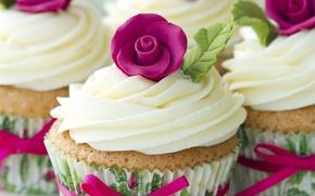 Картинка лента, крем, выпечка, сладкое, кексы, украшение роза