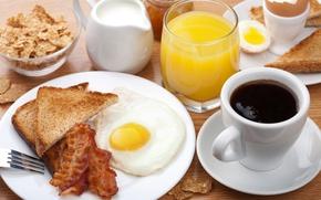 Картинка кофе, завтрак, сливки, сок, яичница, хлопья, бекон