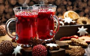 Обои клюква, напиток, специи, глинтвейн, Новый год, печенье, анис