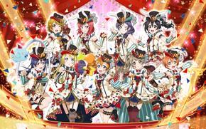 Картинка девушки, группа, аниме, арт, love live! school idol project