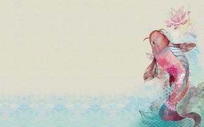 Картинка рыбка, арт, лотос, золотая рыбка, fish, illustration, koi