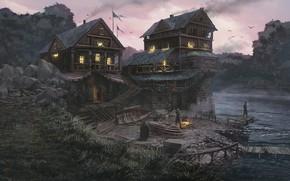 Обои строения, люди, берег, река, Riverside Warehouse