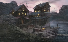 Картинка река, люди, берег, строения, Riverside Warehouse