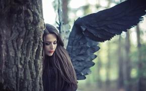 Картинка woman, angel, black wings