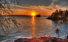 Картинка лес, небо, солнце, деревья, закат, река, островок, Финляндия, Murikka