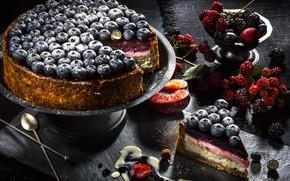 Картинка ягоды, торт, персик, ежевика, голубика