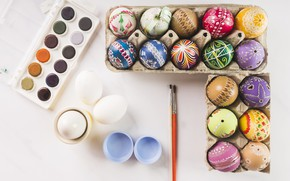 Картинка Пасха, Яйца, Праздник, Краски