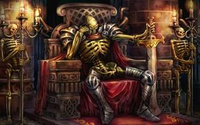 Обои огонь, цепь, подземелье, стража, преисподняя, Welcome to Hell, красные глаза, меч, трон, склеп, скелеты, Dragon's ...