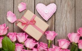Картинка розы, love, heart, pink, romantic, sweet, gift, petals, roses, valentine`s day