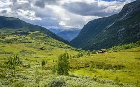 Картинка Природа, Облака, Луга, Горы, Норвегия, Tindevegen