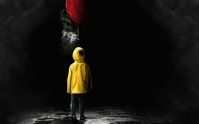 Обои ужасы, пеневайз, 2017, шарик, кино, плащ, оно, клоун