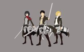 Картинка sword, game, soldier, minimalism, grey, anime, man, ken, blade, manga, protector, Shingeki no Kyojin, Attack …